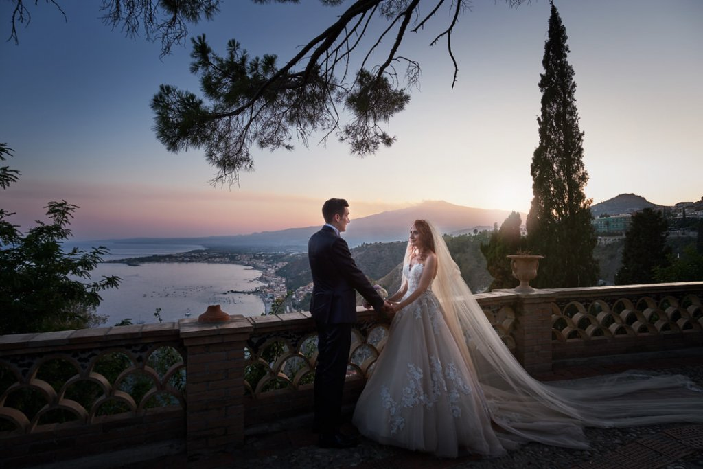 etna landscape at pubblic garden in taormina for unique scenario if wedding photography