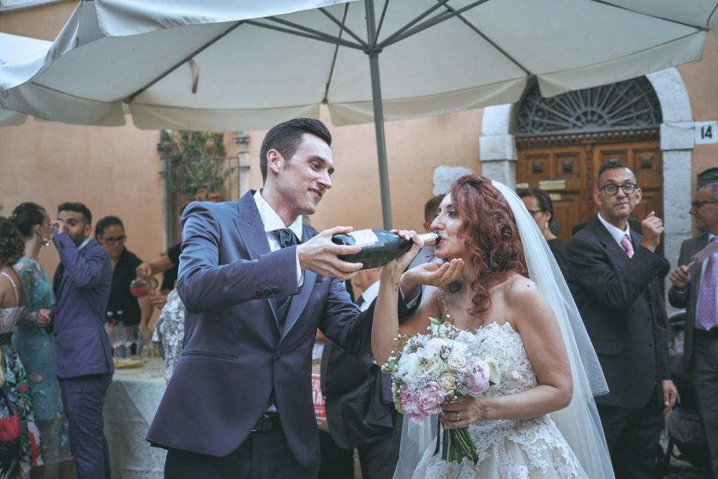 champagne after ceremony in varo church taormina