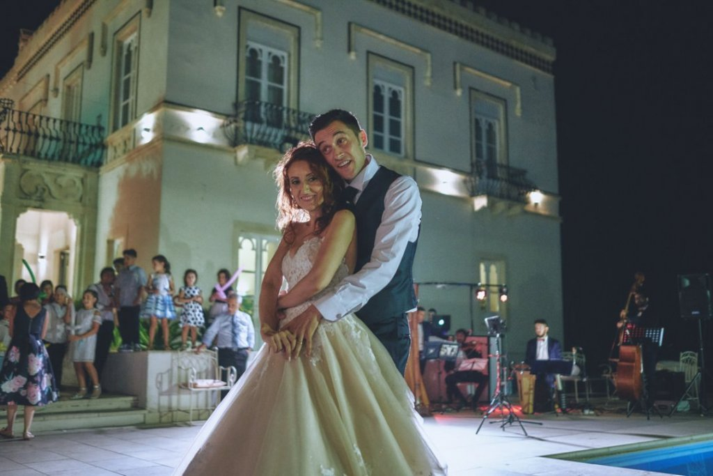 groom and bride dancing during their italian style wedding at villa mon repos Taormina