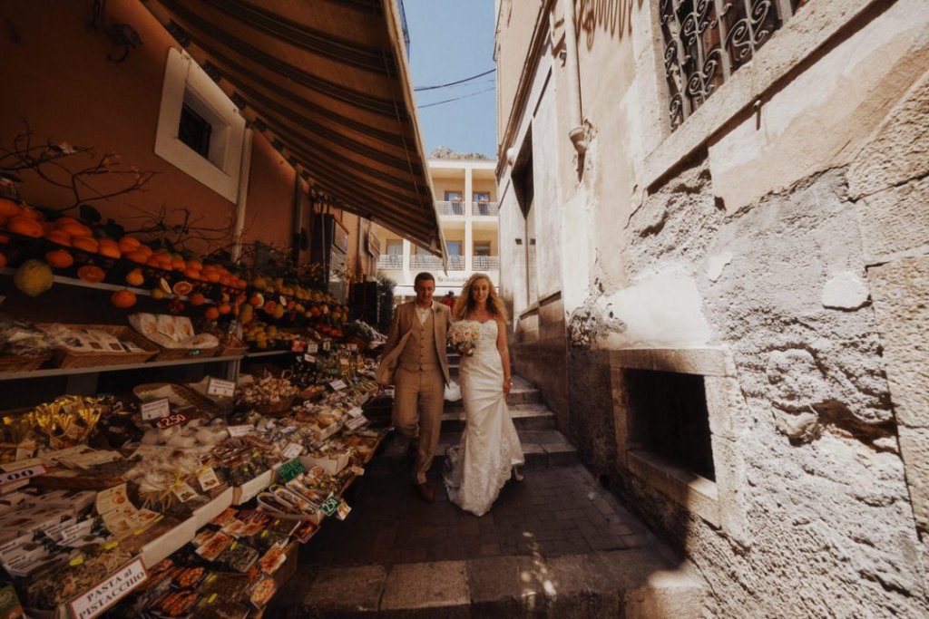 old street in taormina for wedding photography