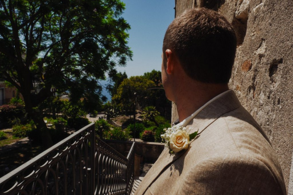 Craig the groom is waiting for annie the bride at palazzo duchi santo stefano at taormina