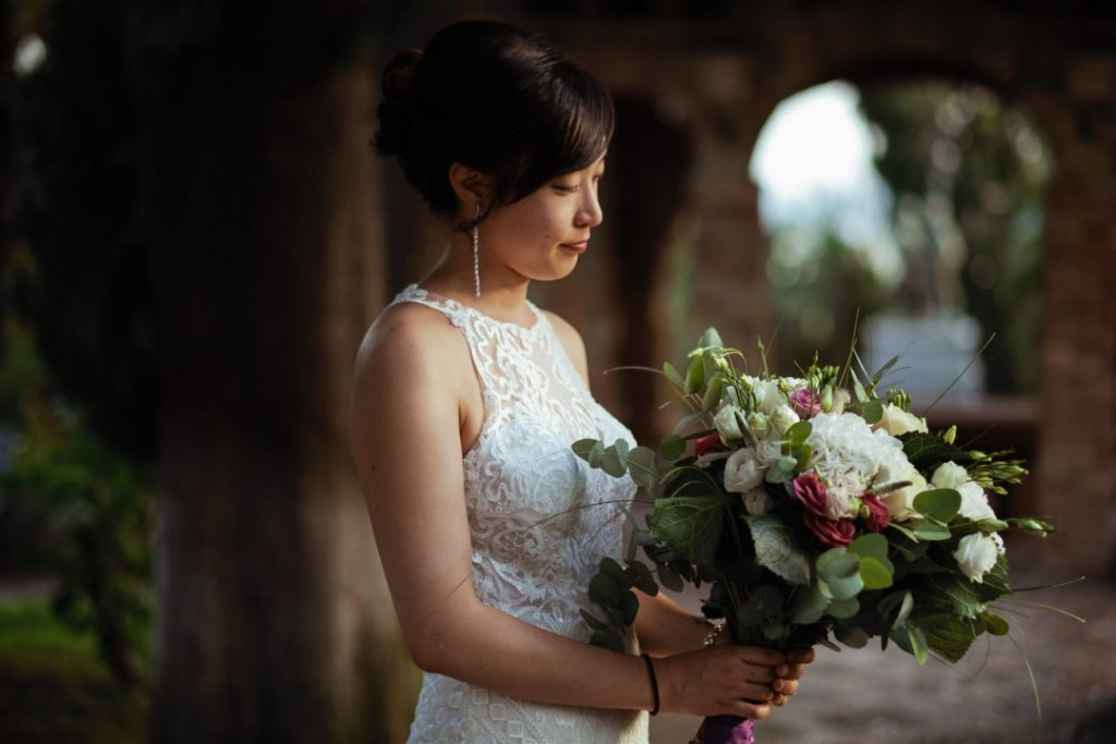 bride in taormina garden wedding