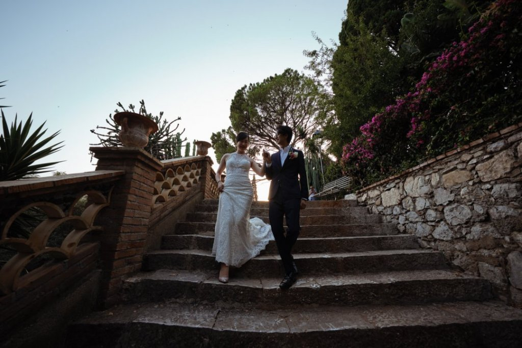 stairways pubblic garden wedding taormina