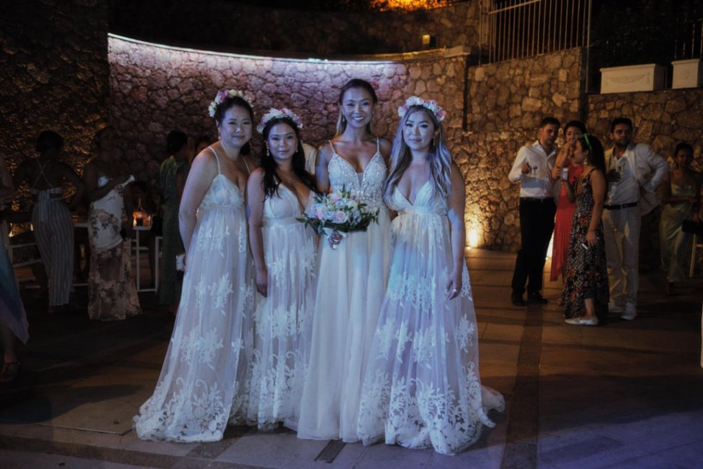 bride and bridesmaids during the party a la plage resort taormina sicily
