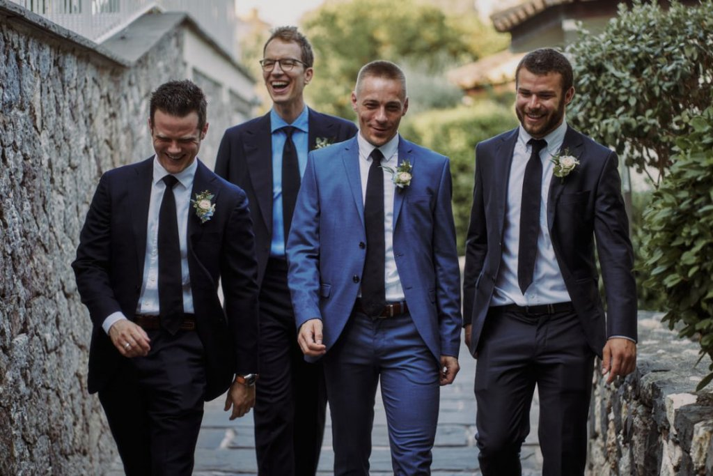 groom and his friends and wedding witness a la plage resort